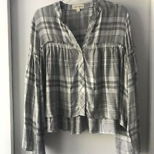 Anthropologie Cloth And Stone Button Down Plaid Top Bell Sleeve Size S
