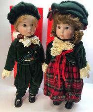 2 Vintage Christmas Porcelain Caroler Dolls Boy Girl Singing Mervyn's Standing