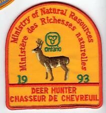 1993 ONTARIO MNR DEER HUNTER PATCH-MICHIGAN DNR DEER-BEAR-MOOSE-ELK-CREST-BADGE