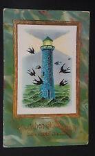 1912 Hamburg Germany Lighthouse Happy New Year Greeting Card Postcard