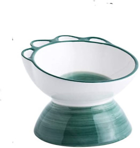 HCHLQLZ Green small Ceramic Tilted Elevated Cat Dog Bowl Raised Cat Food Water