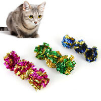 5/10pc Pet Cat Mylar Shiny Crinkly Foil Ball Play Crackle Paper Rustle Sound Toy