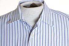 Tommy Bahama Blue White Stripe Mens sz 18 x 34-35 Long Sleeve Button Up Shirt