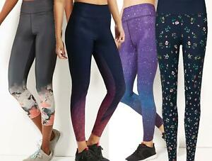 Ex M&S Women's Leggings Printed Gym Workout Sport Stretch Brand New