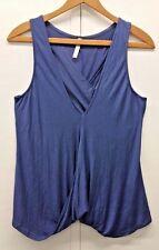 Lyss Loo Women's Blue Knit Tank Top Blouse Drape Neckline Sleeveless Style Sz M