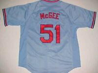 St. Louis Cardinals Willie McGee #51 MLB NL Nike Cooperstown Blue Red Jersey M