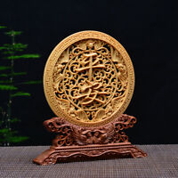 Chinese Box-wood carved Exquisite Five Bats Roundel Statue 五福平安