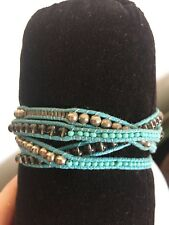 Turquoise Leather Wrap Crystal Sterling Ball Bracelet