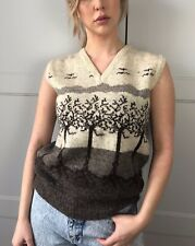 Vintage Anna Roose Wool Welsh Trees Tank Jumper Vest Top Hand knit 70,s Fassett