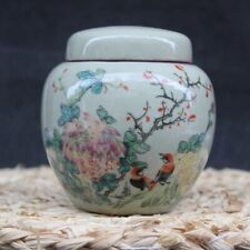Chinese old porcelain Pink Chrysanthemum Flower and Bird Picture Porcelain jar