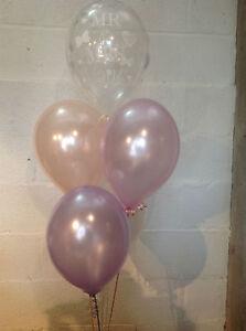 30 Mr & Mrs White Pearlised Balloons, Blush, Pink & Lilac Wedding
