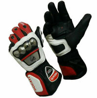 Ducati Top Quality Motorbike Original Leather Gloves full Protected