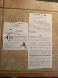 MONOPOLY Board Game replacement Hasbro 1961 Instructions only.