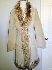 Afghan penny lane vintage boho embroidered suede Faux fur coat jacket hippie s m