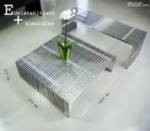 Stainless Steel Coffee Table With Transparent Plexiglass Würfeln. 35 KG