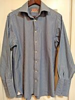 Thomas Pink Mens Sz 15 1/2 34 Shirt Blue Green Stripe Long Sleeve French Cuff