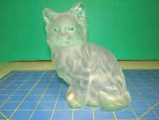 VINTAGE FROSTED  SATIN ART GLASS CAT FIGURINE PAPERWEIGHT BOOKEND OR DOORSTOP