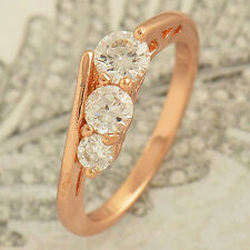 Fashion Womens Rose Gold Filled Flawless 3-CZ wedding Promise Ring 6