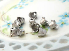 #399 Vintage Silver Bead Caps Pewter Color Flower Floral Flowers 7mm Cone NOS