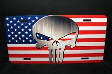 AMERICAN FLAG AND THE PUNISHER SKULL METAL LICENSE PLATE FOR CARS...