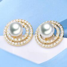 Luxury 18K Yellow Gold Filled Galaxy Double-Ring Pearl Stue Women Lady Earrings