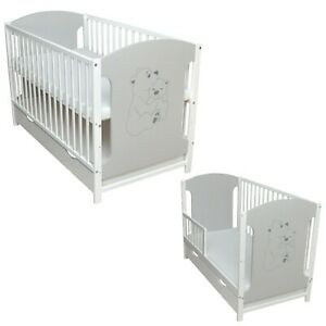 Babybett Juniorbett Kinderbett 120x60 Weiß Grau Teddy Schublade Matratze Neu