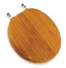 Wooden Bamboo Rattan Toilet Seat Standard Round Nickel Hinges Elegant Comfort