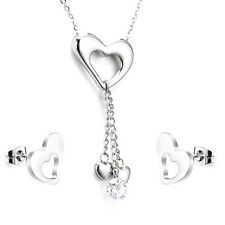 Stainless Steel fashion Jewelry Set, Silvertone LOVE Necklace and Stud Earrings