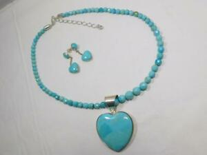 """DTR JAY KING, SS & TURQUOISE HEART NECKLACE & EARRING SET, 18""""      #W775"""