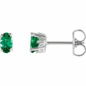 Chatham Synthetischer Smaragd Ohrringe 14K Weiss Gold