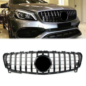 1x Front Grill GTR Style For Mercedes Benz A class W176 A200 A45 AMG 2016-2018