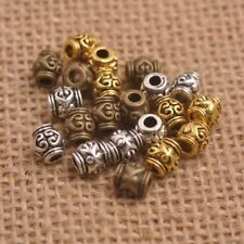 50Pcs Tibetan Silver Gold Bronze Flower Oval Beads Jewelry Findings L3150