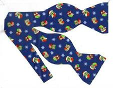 (1) BOW TIE- CHRISTMAS OWLS - RED & GREEN HOLIDAY OWLS & SNOWFLAKES ON DARK BLUE