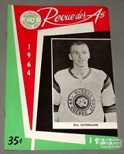1964-65 AHL Quebec Aces Program Bill Sutherland Cover