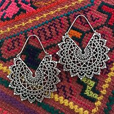 Silver-Plated Lace Mandala Tribal Hoop Earrings
