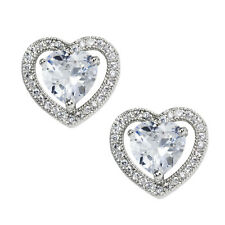 Heart Halo Earrings Stainless Steel Clear CZ Posts