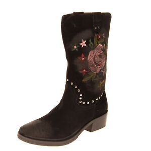 RRP €120 GEI GEI Leather Mid-Calf Boots EU37 UK4 US7 Treated Embroidered Flowers