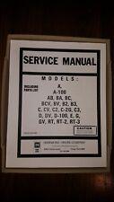 HAMMOND ORGAN SERVICE MANUAL A 100 AB BA BC BCV BV B2 B 3 C CV C2 C2G C3 D DV RT
