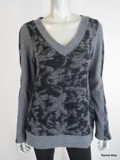 NWT $165 KATHLEEN VAN DER SPEK L Open Weave Gray Floral V-neck Sweater USA NEW
