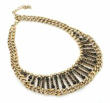 Zest Chunky Collar Necklace with Curb Chain & Onyx Stones Gold