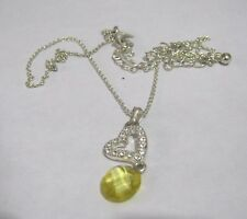 Great Silver tone metal chain necklace chain heart pendant yellow bead faceted
