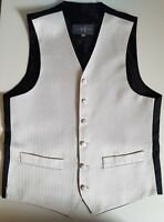 mens WAISTCOAT ivory silk thread PINSTRIPE occasion smart gold ALL SIZES FREE PP