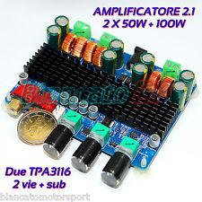 AMPLIFICATORE 2.1 DUE VIE + SUB  50W x 2 + 100W CON 2 TPA3116 12V  26V CLASSE D