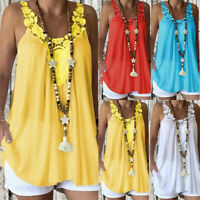 Plus Size Women Sleeveless Hollow Casual Lace Vest Blouse T-Shirt Cami Tops #@