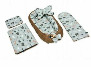 Bedding Set Portable Baby Nest Cocoon Double-Sided Cradle Bassinet Brown Minky