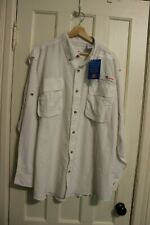 Mens All American Fisherman White Vented Long Sleeve Button Down Shirt