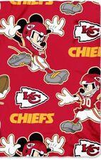 "KANSAS CITY CHIEFS BLANKET FLEECE THROW MICKEY MOUSE NFL NEW NWT 50"" BY 60"""