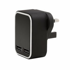 3.1 AMP Fast 2 Port USB UK Mains Wall Plug Charger Adapter 3 Pin For Mobiles
