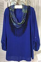 NEW~Plus Size 2X 1X Blue Black Floral Lace Scarf Fringe Boho Shirt Top Blouse