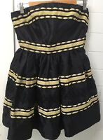 Bebe Sydney Size 10 Black Ribbon Strapless Formal Cocktail Party Dress BNWT